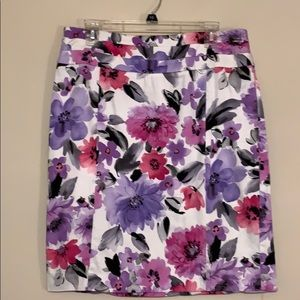 DressBarn Purple Pink White Floral Skirt Size 12